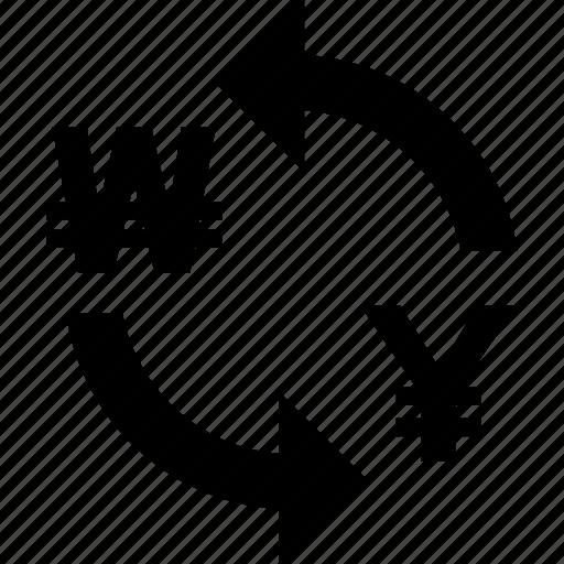 exchange, rate, to, won, yen icon