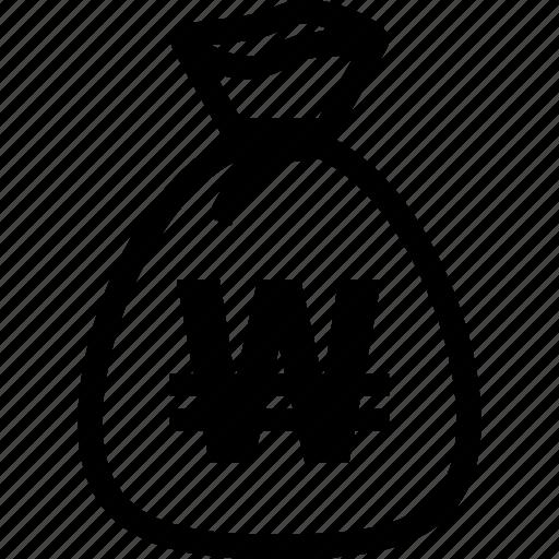 bag, money, won icon