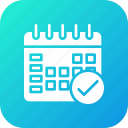 calendar, date, done, schedule, timeframe, wall icon
