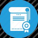 achievement, certificate, certification, degree icon