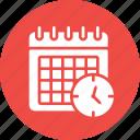 calendar, clock, date, schedule, timeframe, wall icon