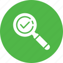 checkmark, done, explore, find, magnifier, search, success icon