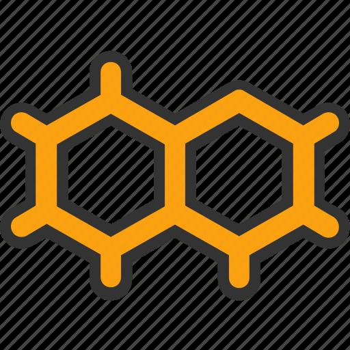 chemistry, electron, hexagons, molecule, science icon