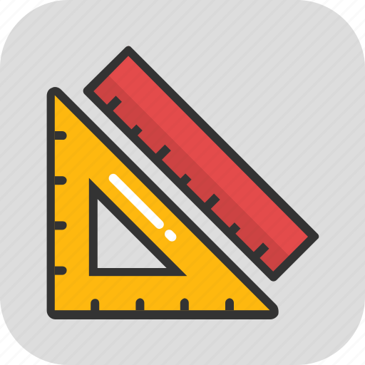 degree square, drafting, geometry, scale, set square icon