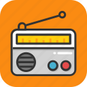 electronics, media, radio, radio set, transmission icon
