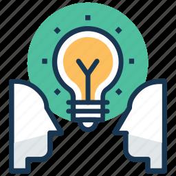 creative idea, exchange ideas, idea development, idea sharing, mind map icon