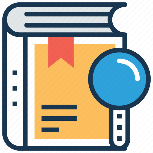 book magnifying glass, book search, digital library, encyclopedia, information research icon