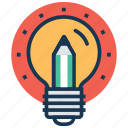 bright ideas, bulb pencil, creativity, ideas inspiration, innovation icon