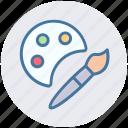 art, brush, drawing, paint, paint brush, paint palette icon
