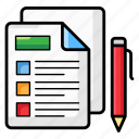 documents, files, office supply, papers, writing document icon