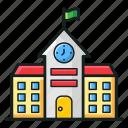 building front, condominium, educational school building, school infrastructure, university icon