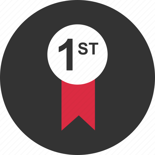 award, first, number, one, place, ribbon, top icon