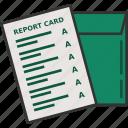 grade, grades, graduation, graduation card, report card icon