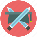 cap, degree, diploma, education, pencil icon icon