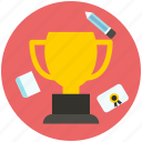 award, badge, book, medal, pencil, trophy, winner icon icon