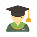 campus, children, college, education, graduation, law, master, people, school, science icon