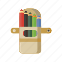 color, drawing, education, package, pen, pencil, picture, school, student, teacher icon
