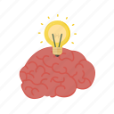 brain, brainstorm, education, genius, head, idea, knowledge, lamp, proffesor, thinking icon