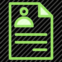 cv, document, personal, profile icon