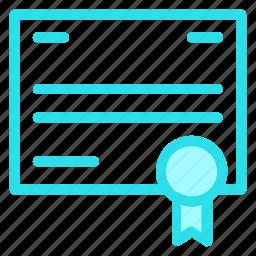 certificate, certificates, document, documents, file, seil icon