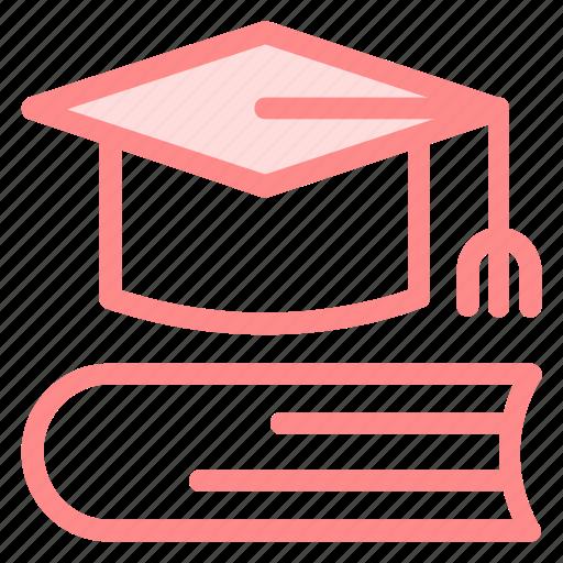 book, cap, education, graduate, graduation, graduationcap, hat, tool, tools icon