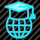 earth, earthglobe, education, globe, graduationcap, graduationcaps, planet, tool, tools icon