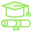 cap, diploma, education, graduation, graduationcap, graduationdiploma, graduationhat, hat, tool icon