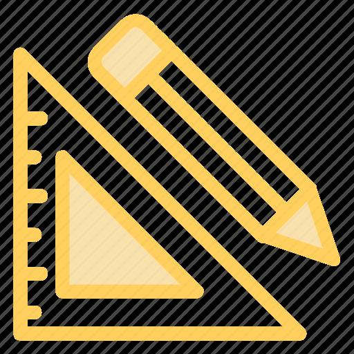 education, mathematics, maths, measure, measuring, pen, square, tool icon