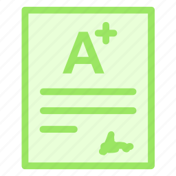 education, rating, result, score, sheet, test, text icon