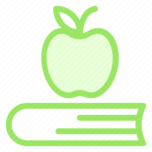 apple, book, books, class, fruit, scholastics, school, tool icon
