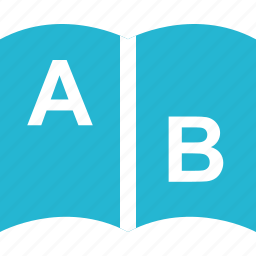 a, b, book, education, learn, learning, school icon