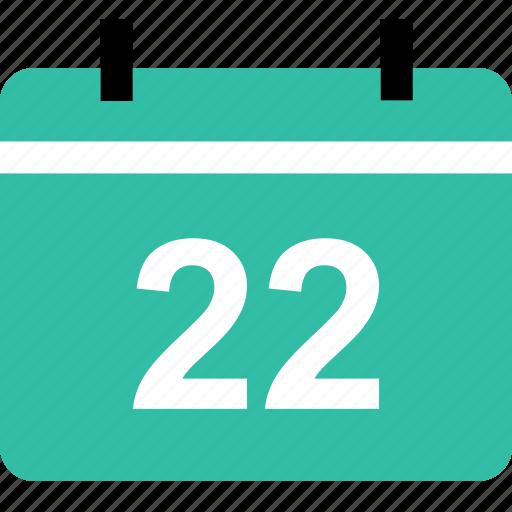 calendar, education, event, learning, school, twenty, two icon