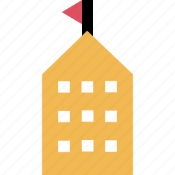 building, education, flag, learning, school icon
