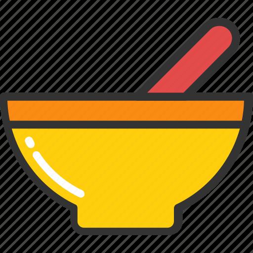 bowl, mortar, pestle, pharmacy, utensil icon