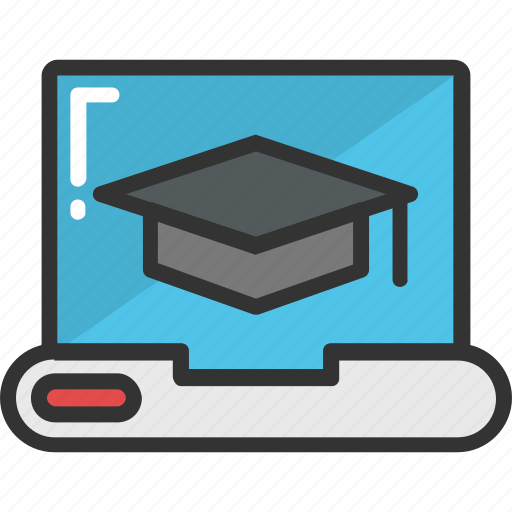 e learning, laptop, mortarboard, pc, technology icon