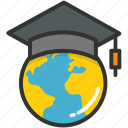 education, elearning, global education, globe, mortarboard icon