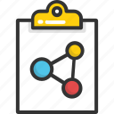 atom, bond, clipboard, report, science icon