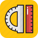 degree tool, drafting, measuring, protractor, scale icon