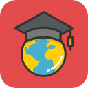 globe, education, mortarboard, elearning, global education