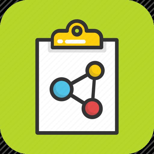 atom, bond, clipboard, report, science icon