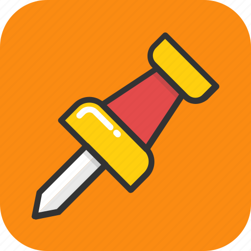 map marker, pin, push pin, stationery, thumbtack icon