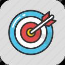 aim, bullseye, goal, objective, target icon