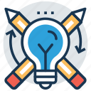 bright ideas, bulb pencil, ideas inspiration, innovation, splash pencil icon