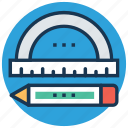 degree tool, drafting tools, geometry, pencil, protractor icon