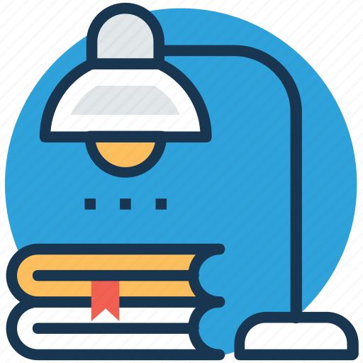 books, desk lamp, study corner, studying, table lamp icon