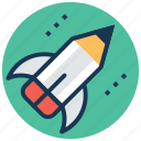 creative start, creativity, pencil launch, rocket pencil, startup icon