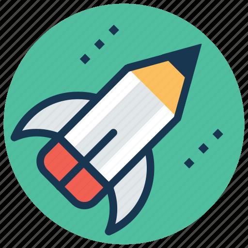 creative start, creativity, pencil launch, rocket pencil, startup icon