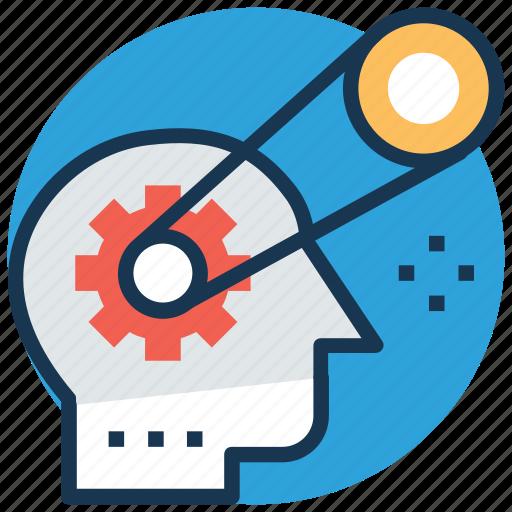 brain cogs, brain potential, brain process, brainstorming, creative thinking icon