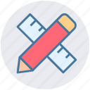 education, math, mathematics, pencil and ruler, pencil ruler icon