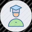 degree, graduation, man, people, profession, student icon